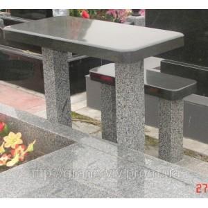 Стол и лавка каменные 115х50х5