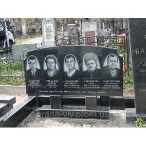 Надгробия киев могильный черный Арка-А6P 100х50х8.